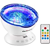 Delicacy Ocean Wave Projector 12 LED 7 Lighting Modes Undersea Lamp, Music Player Remote Control Night Light Projector for Kids Adults Bedroom Living Room Decoration