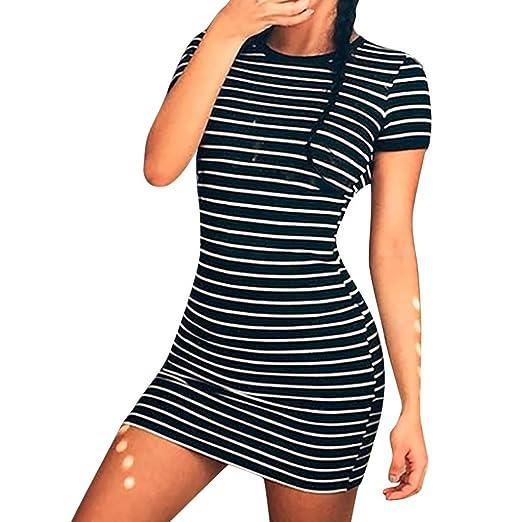 82e3df836730 Giulot Women Casual Loose Striped Dress Short Sleeve O Neck T-Shirt Tank  Mini Dress