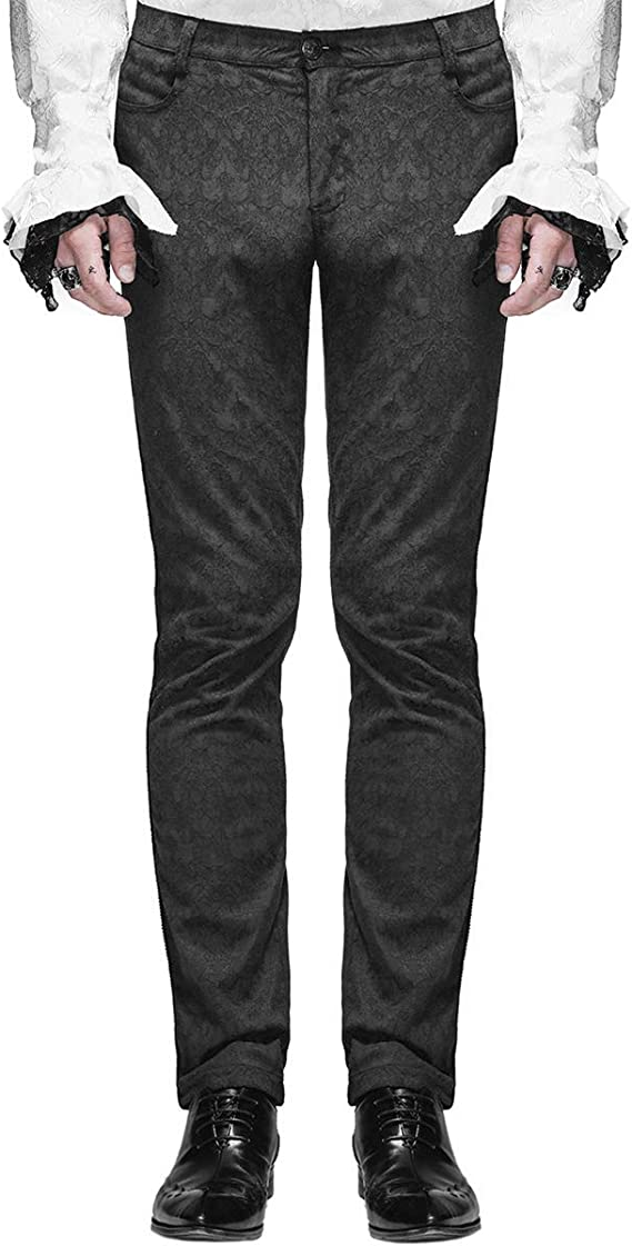 Men's Steampunk Pants & Trousers Devil Fashion Mens Trousers Pants Black Brocade Gothic Steampunk VTG Aristocrat £44.99 AT vintagedancer.com