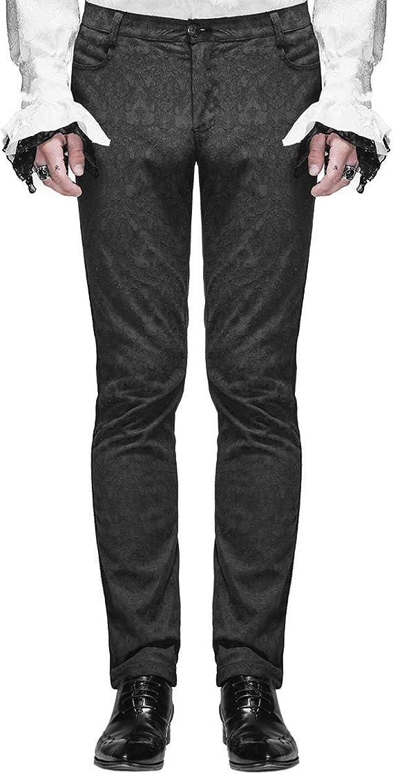 Vintage Style Menswear UK 1920s, 1930s, 1940s, 1950s, 1960s, 1970s Devil Fashion Mens Trousers Pants Black Brocade Gothic Steampunk VTG Aristocrat £44.99 AT vintagedancer.com
