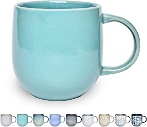 Bosmarlin Ceramic Coffee Mug, Tea Cup for Office and Home, 13 oz, Dishwasher and Microwave Safe, 1 PCS(Mint green)