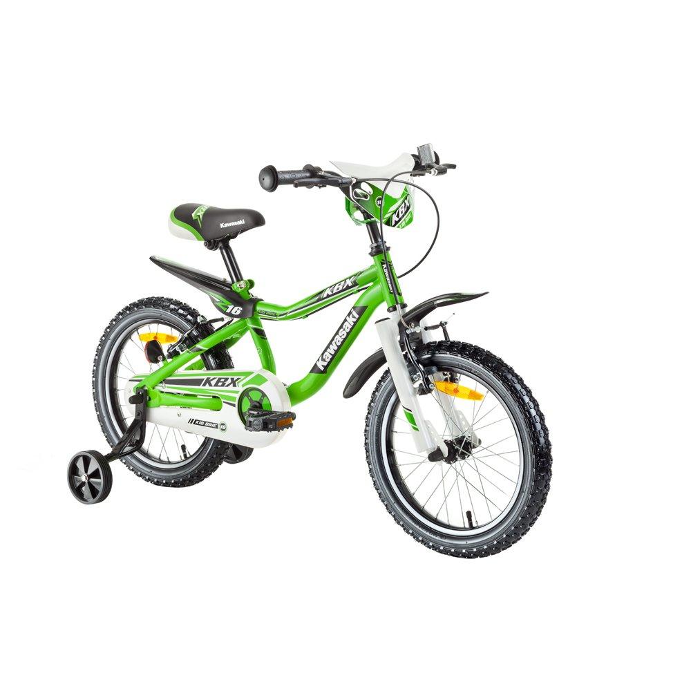 Kawasaki Kinderfahrrad 16 Zoll Juroku KBX - Fahrrad für Kinder grün schwarz