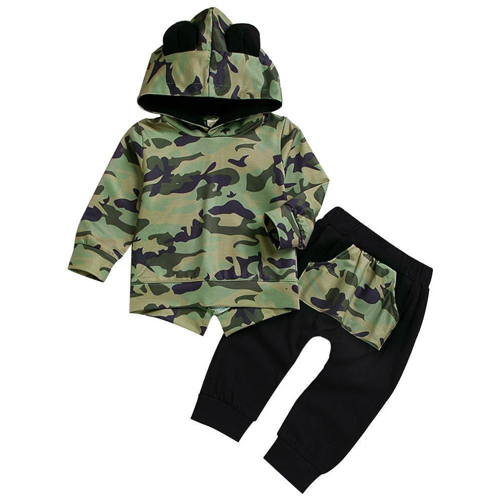 Baby Boy Clothes Long Sleeve Printed Lady Killer Top Hoodie and Camouflage Pants Infant Outfits Set