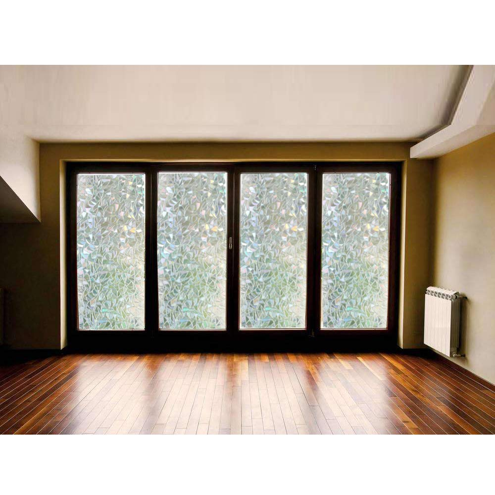 Window Film 3D Decorative Privacy 17.7x78.7 Static Cling Glass Window Sticker Non-Adhesive No Glue Heat Control Anti UV Light Blocking for Home Kitchen Bathroom Office Meeting Room Living Room