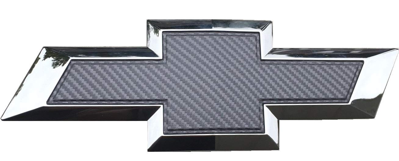 "Qbc Craft Chevy Bowtie Emblem Overlay Gray Grey 3M Carbon Fiber Cut-Your-Own Car Wrap Kit DIY GM Symbol Logo Grille Easy to Install 12/"" x 4/"" Sheets 3 Pack x3"