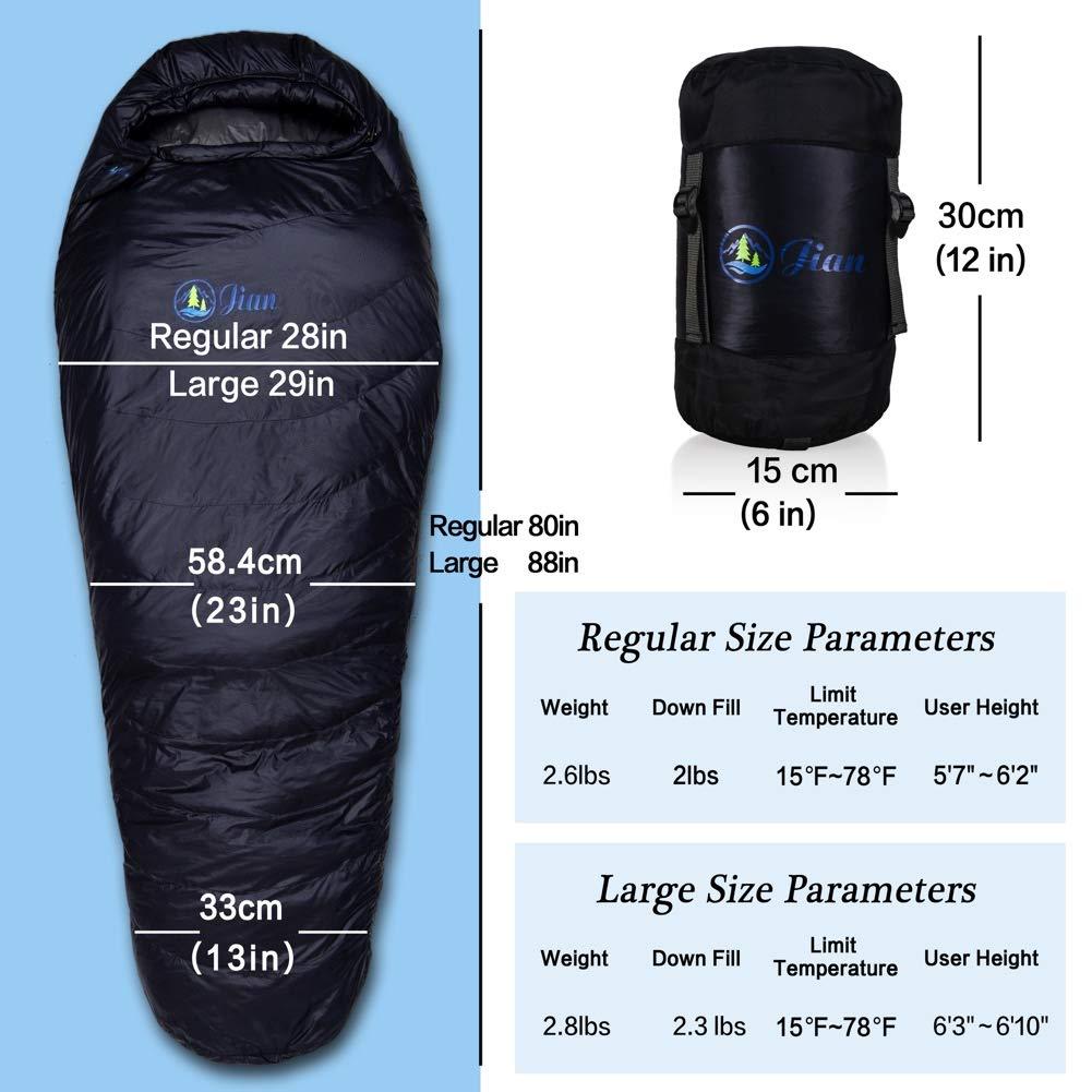 Jian Life Time Warranty 15 Degree F 4 Season Down Sleeping Bag-Hydrophobic Lightweight Sleeping Bag for Backpacking