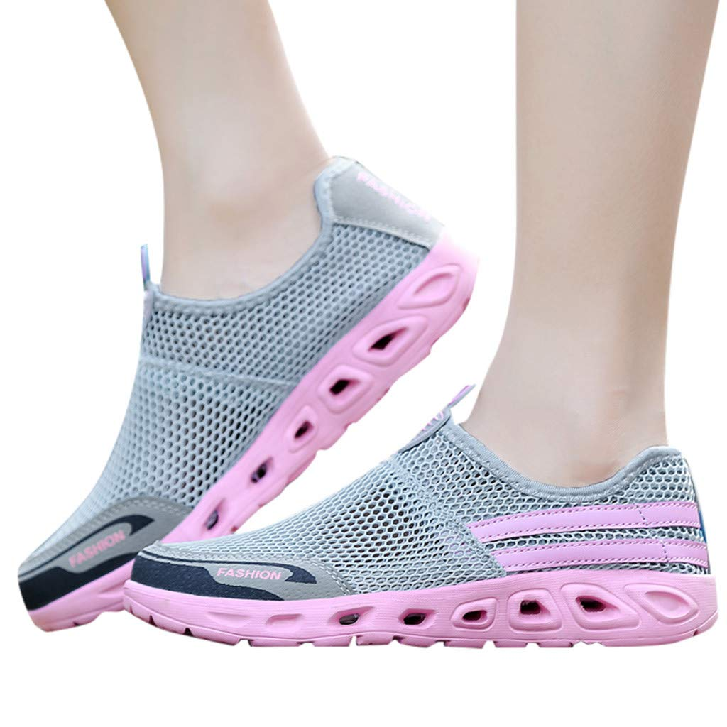 Moonker Womens Athletic Support Walking Shoes Arch Support Sneakers Ladies Slip-On Hollow Mesh Lightweight Running Shoes