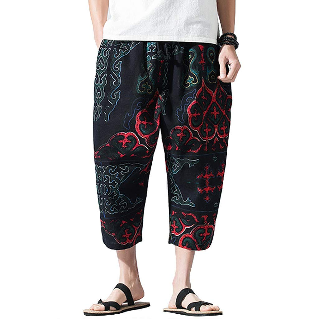 Clearance! Men 's Baggy Harem Pants,Male Summer Casual Linen Trouser Floral Printed Loose Straight Fit Plus Size Pant