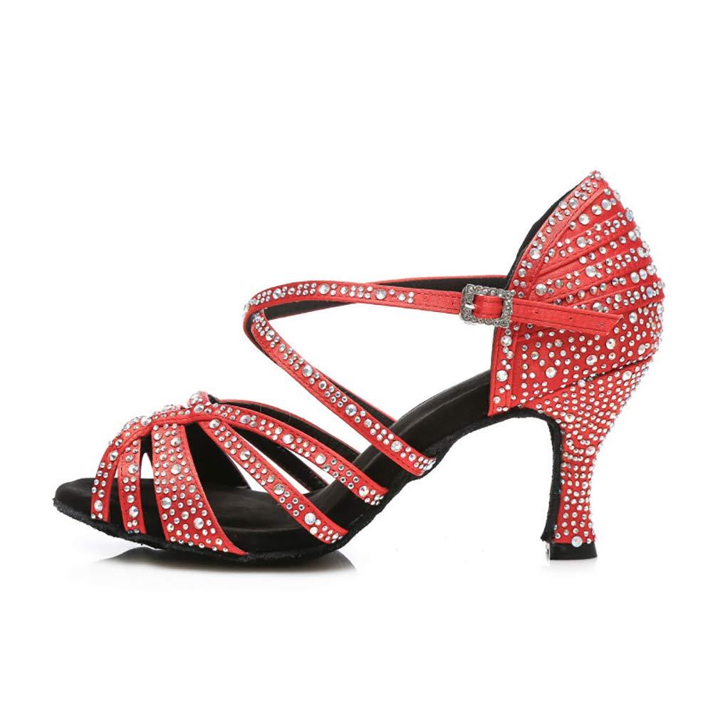 Rouge(heel 7.5cm) Cross Strap Satin Strass Talon évasé Latine Salsa Tango Parti Femmes Ballroom Dance Chaussures De Salon Sandales 34EU
