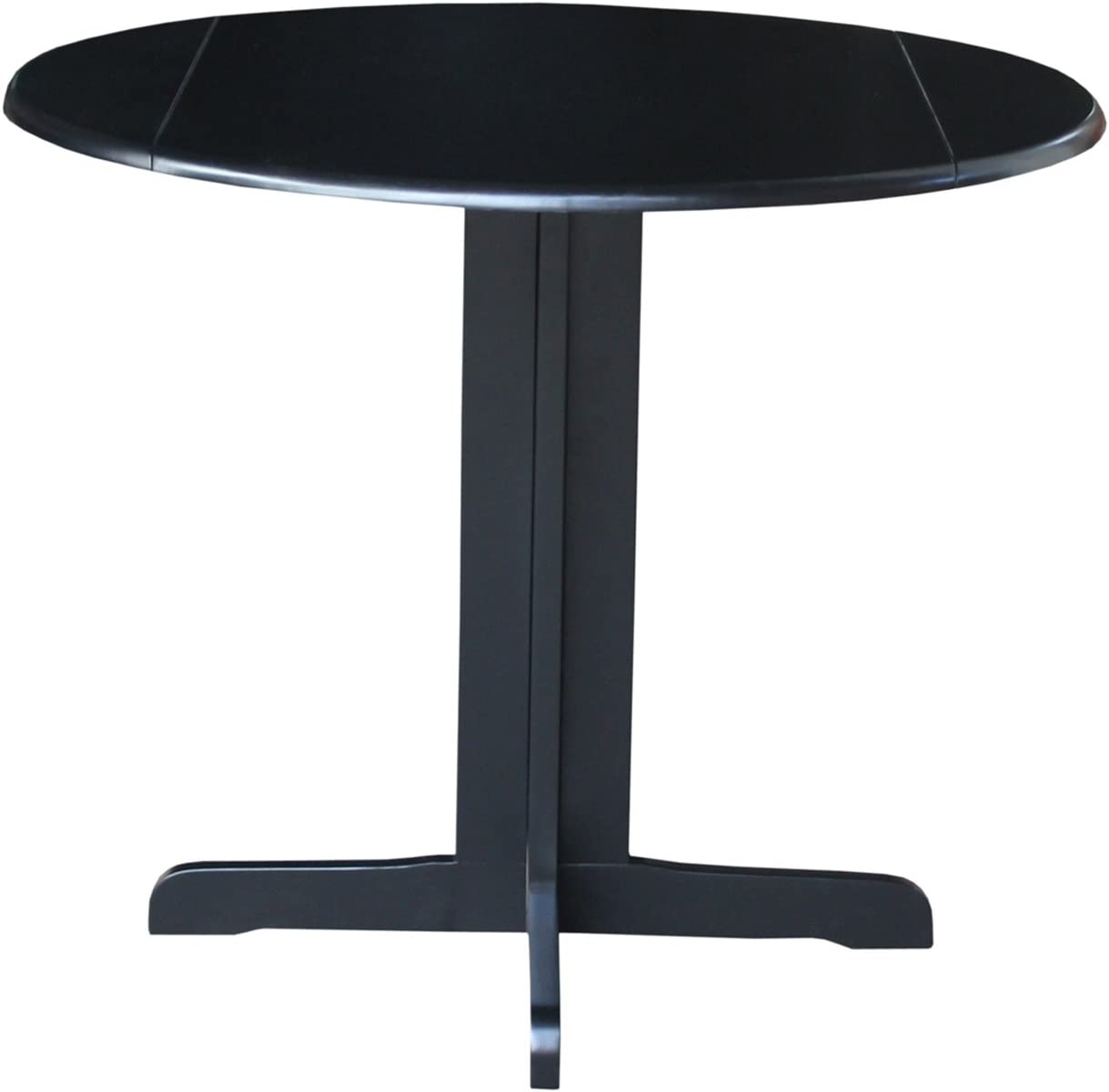 International Concepts Dual Drop Leaf Dining Table, 36-Inch, Black