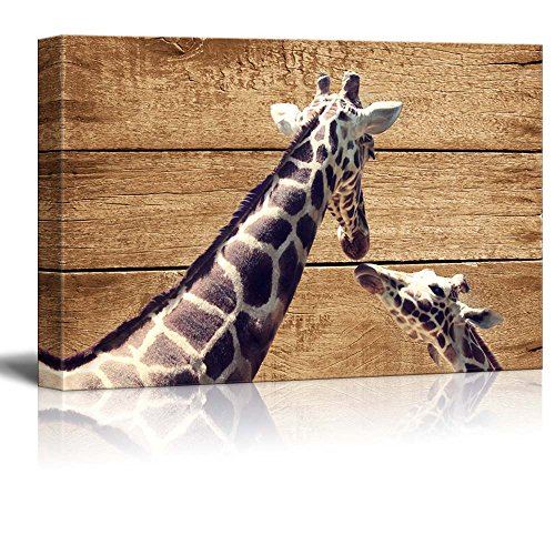 wall26 – Rustic Canvas Wall Art – Two Giraffes – Giclee Print Modern Wall Decor Stretched Gallery Wrap Ready to Hang Home Decoration – 32×48 inches