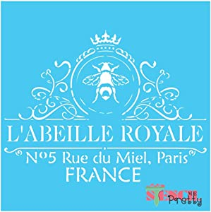 "French Royale French Stencil Best Vinyl Large Stencils for Painting on Wood, Canvas, Wall, etc.-S (14"" x 10.5"")