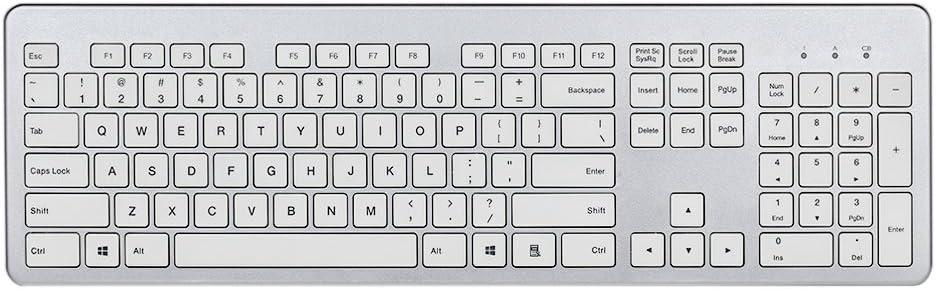 fenifox teclado inalámbrico ultrafino con teclado numérico Silencioso teclas para PC portátil Tablet plata