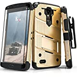 Zizo BOLT Series compatible with LG Stylo 3 Case Military Grade Drop Tested with Tempered Glass Screen Protector, Holster, Kickstand GOLD BLACK
