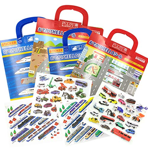 SPRITE WORLD Puffy Stickers Pad Sets City Vehicles Extra-Large Reusable Sticker Activity Pad(4 Sets)