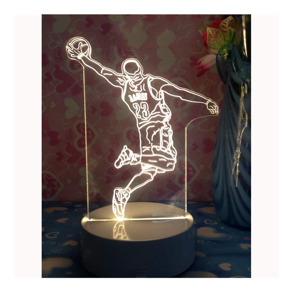 ZDVHM 3D Lámpara ilusión Jugador de Baloncesto 3D luz de la Noche ...