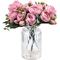 XONOR 3 Packs Artificial Peony Silk Flowers Fake Glorious Flower Bouquets for Wedding Party Bridal Home Decoration, 5…