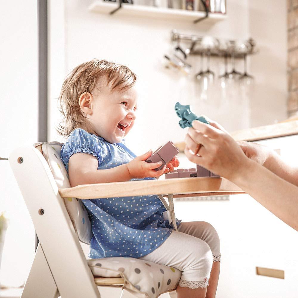/Évolutive d/ès naissance Coussin assise Hauck Beta Plus Newborn Set Deluxe hauteur r/églable Tablette Inclus Transat pour nouveau-n/é Blanc Nature Chaise Haute B/éb/é en Bois