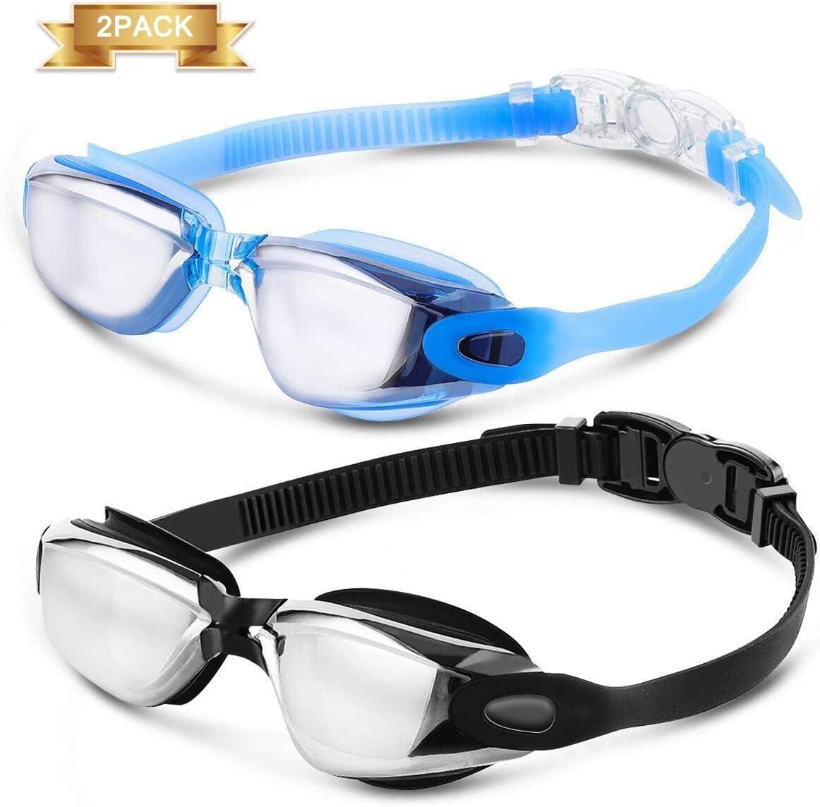 Gafas de natación, lentes de espejo tintadas antivaho CAMTOA protección UV parahombres, regalo cuatro almohadillas nasales de gafas y dos pares de tapones para los oídos, paquete de 2, negro, azul