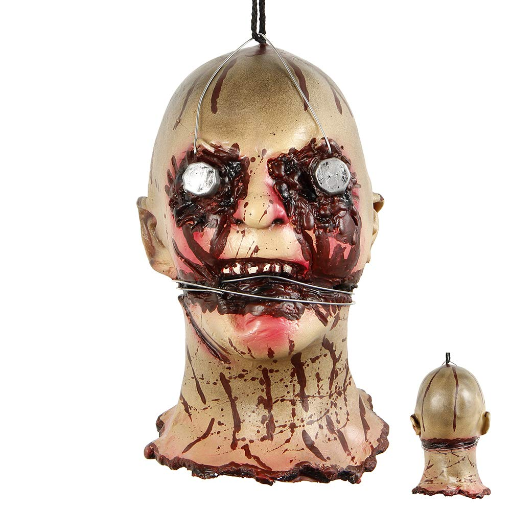 LITTLEGRASS Halloween Props Scary Hanging Severed Head Decorations,Life-Size Bloody Cut Off Corpse Head Ghost Animated Zombie Head for Haunted Houses Party Decor Funny Festive Supplies (style12) by LITTLEGRASS