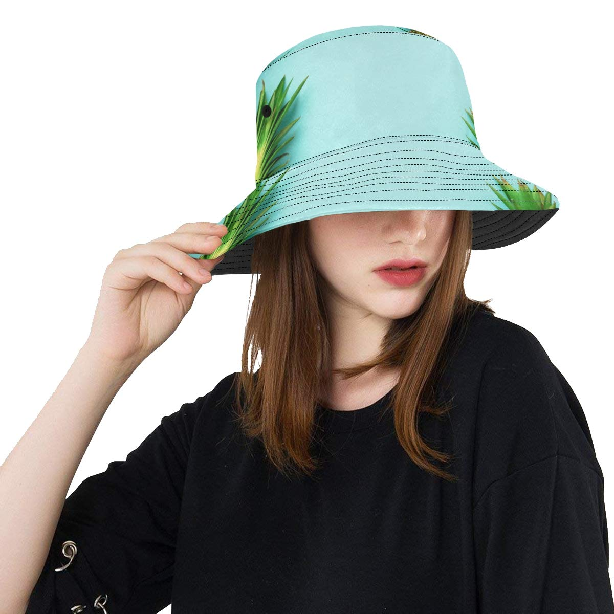 Summer Yellow Tripical Fruit Pineapple Palm New Summer Unisex Cotton Fashion Fishing Sun Bucket Hats for Kid Teens Women and Men with Customize Top Packable Fisherman Cap for Outdoor Travel