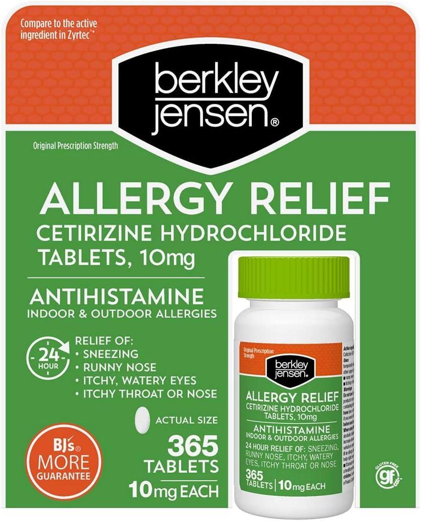 Berkley and Jensen 10mg Cetirizine Hydrochloride Antihistamine Tablets - 365 Count