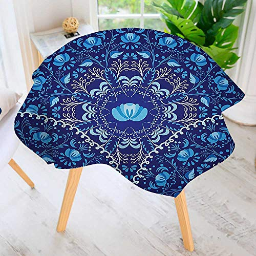 - UHOO2018 Hand Screen Printed Tablecloth-Decor Circular and Floral Alike Oriental Patterned Design Artwork Navy Blue White and Modern Printed Spill Proof Cloth Round Tablecloths 35.5