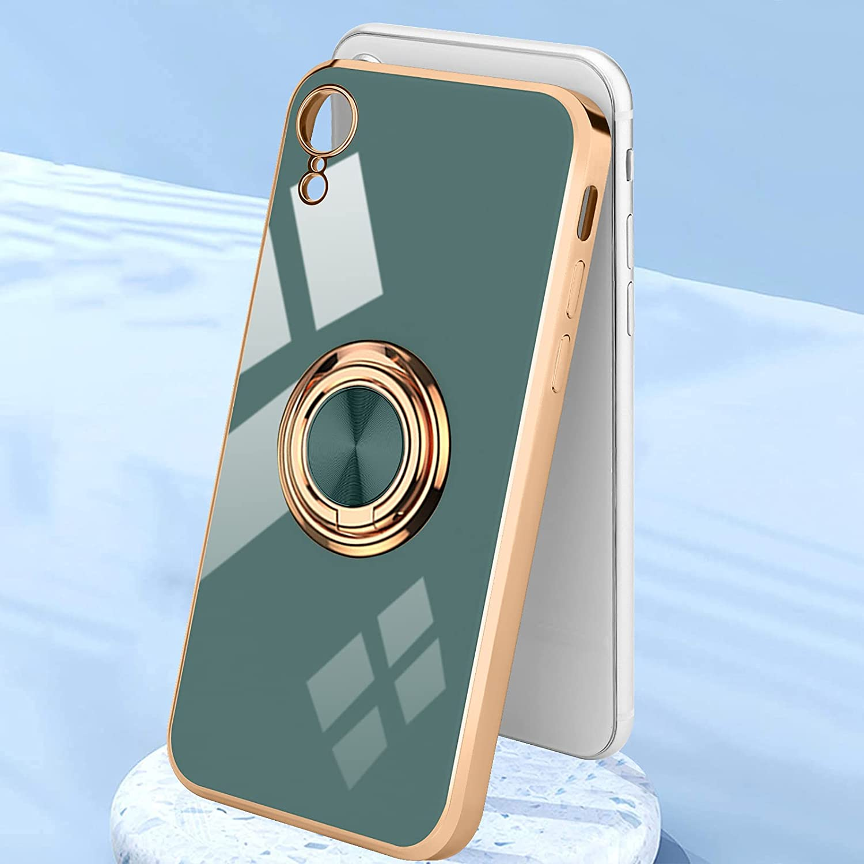 Urarssa Compatible with iPhone Xr Case, Finger Ring Holder Case Rose Gold Plating Design for Women Girls Rotating Holder Kickstand Magnetic Shockproof Soft TPU Bumper Cover Case, Grey