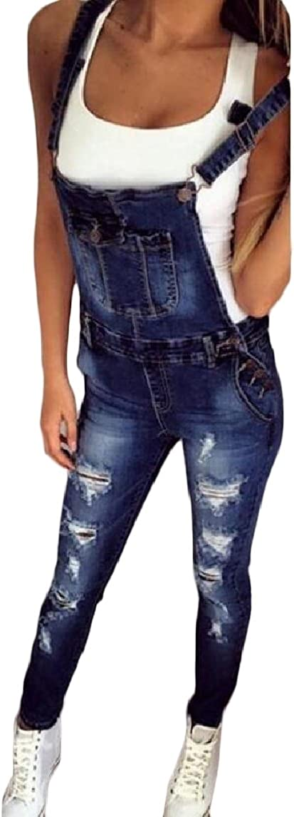 MirrliyWomen Stretchy Fabric Denim Ripped Destroyed Curvy Pocketed Jumpsuit Overalls