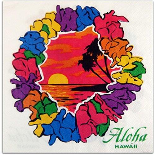 Hawaiian Lei Beverage Napkin Set of 20 by KC Hawaii