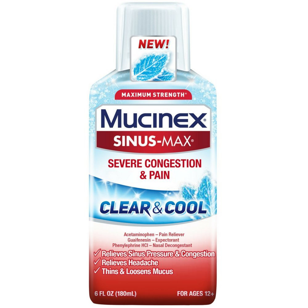 Mucinex Sinus-Max Clear & Cool Adult Liquid - Severe Congestion Relief 6 Oz. (Pack of 12)