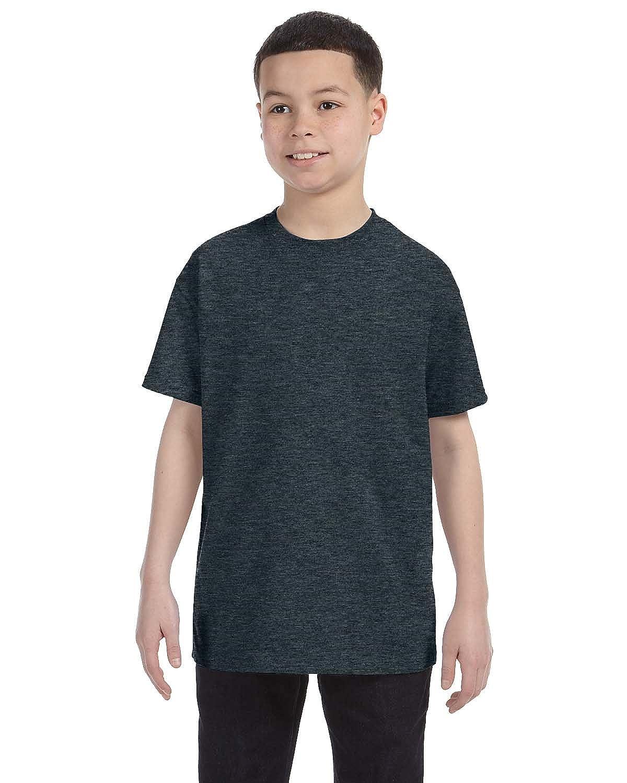 Jerzees Big Boys Rib Collar Tear Away Label T-Shirt Black Heather Small
