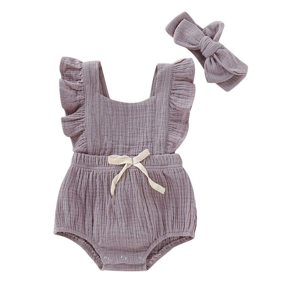URMAGIC Vetement Bebe Fille Ete Naissance Body Combinaison Pyjama Fille sans Manches Ensemble Romper + Bandeau 3-24Mois