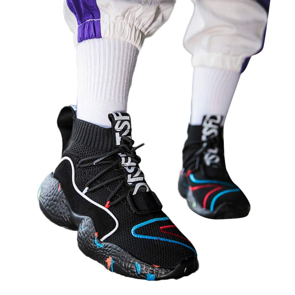 BOOMJIU Men's Walking Shoes Running Socks Platform Fashion Mesh Sneakers Air Cushion Athletic Gym Casual Loafers Black