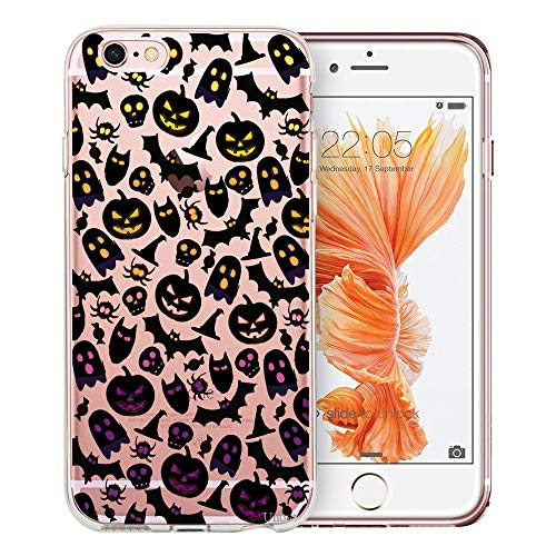 Unov Phone Case Clear with Design Embossed Pattern Soft TPU Bumper Shock Absorption Slim Protective Cover for iPhone 6s iPhone 6 4.7 inch(Skull Bat Cat -