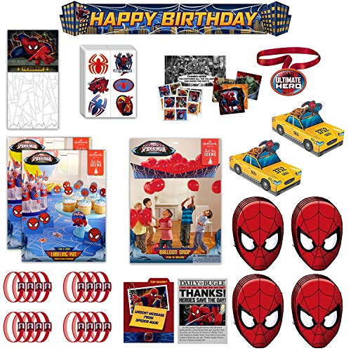 Marvel Ultimate Spider-Man Decor & Favors Bundle - 16 Guests - Invites, Thank You Cards, Food & Drink Kit, Doorway Curtain, Banner, Balloon Drop, Wristbands, Party Game, Masks, Temporary Tattoos, Snack Caddy & Medal