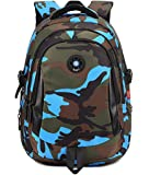 Onirii School backpack For Girls Boys Bookbags Outdoor Dayback Camo Large Blue