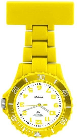 Prince NY London goma unisex - Reloj de bolsillo para Enfermeras En Color Amarillo Y Blanco Cara Color giratoria con 3d marcapáginas Combo se vende por ...