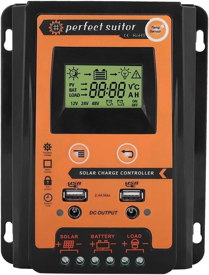 Regulador solar de carga MPPT con pantalla LCD de 12 V/24 V y puerto USB doble, identificación automática, tensión del sistema