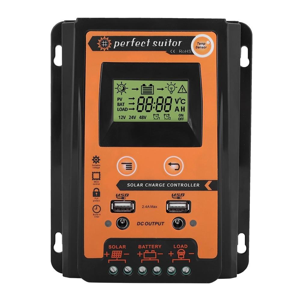 Qiilu Solar Charge Controller 12V 24V 30A 50A MPPT Solar Charge Controller Solar Panel Battery Regulator Dual USB LCD Display 30A