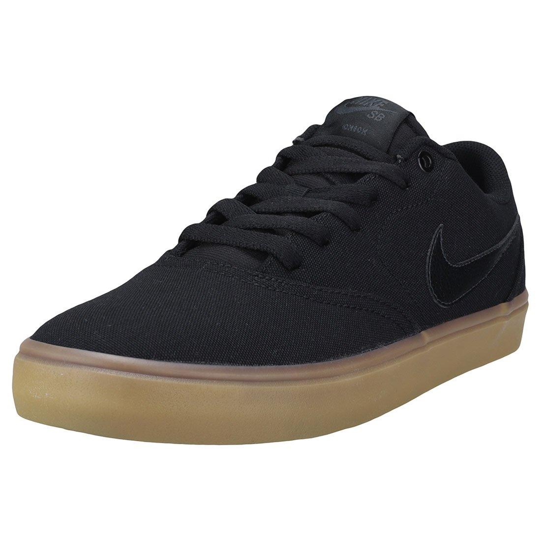 Nike Men's SB Check Solarsoft Canvas Skateboarding Shoes Black/Black-Gum Light Brown 10