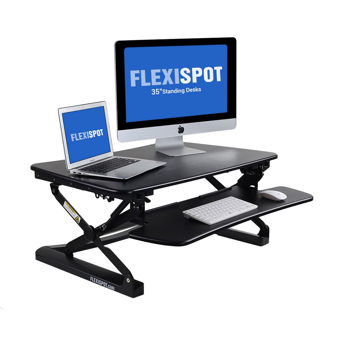 FlexiSpot M2B Standing Desk - 35'' wide platform Height Adjustable Stand up Desk Computer Riser with Removable Keyboard Tray (Medium size Black)
