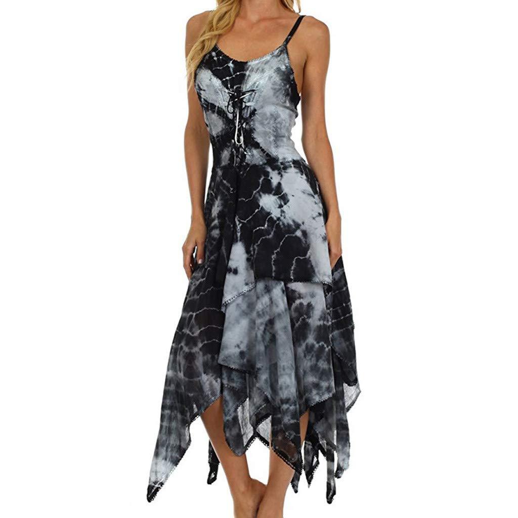Kiminana Vintage Hem Dress,Summer Women's Printed Irregular Dress tie-Dyed Suspender Dress Black