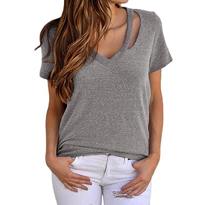 Camisas de Mujer, Dragon868 Camisetas básicas de Verano con Cuello en V para Mujer: Amazon.es: Ropa y accesorios