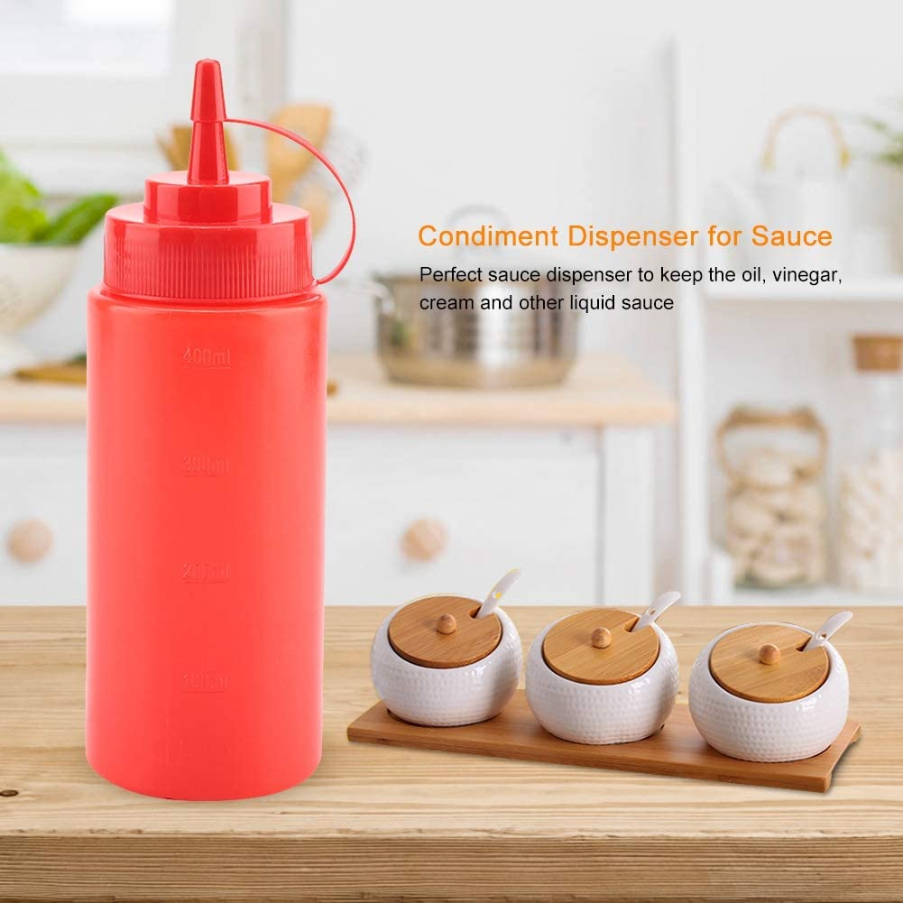 Plastic Condiment Dispenser 460 ml Sauce for Tomatoes Salad Dressing with Mustard Practical Storage Bottles White-pack of 10
