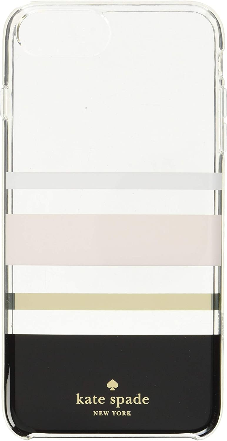 Kate Spade New York Protective Hardshell Case (1-PC Comold) for iPhone 8 Plus, iPhone 7 Plus & iPhone 6 Plus/6s Plus - Charlotte Stripe Black/Cream/Blush/Gold Foil