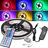 Magic BEAM 5M 16.4 Ft WATERPROOF LED Strip Lighting Full Kit 5050 RGB 150 LED Flexible Color Changing LED Light Strips with Power Supply + 44-Key IR Remote Controller