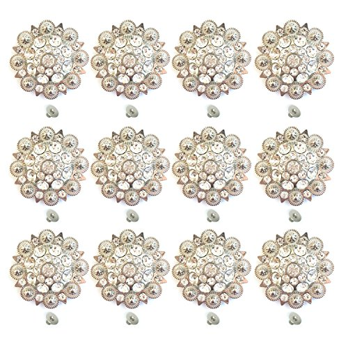 MarryAcc Berry Conchos with Screws Metal Flower Rhinestone Conchos 12 Pieces (Color 11)