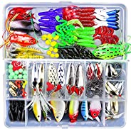 Fishing Lure Kit, 141 Pcs Fishing Lures Baits Kits for Bass with Tackle Box Covering Crank Baits Fishing Spoon
