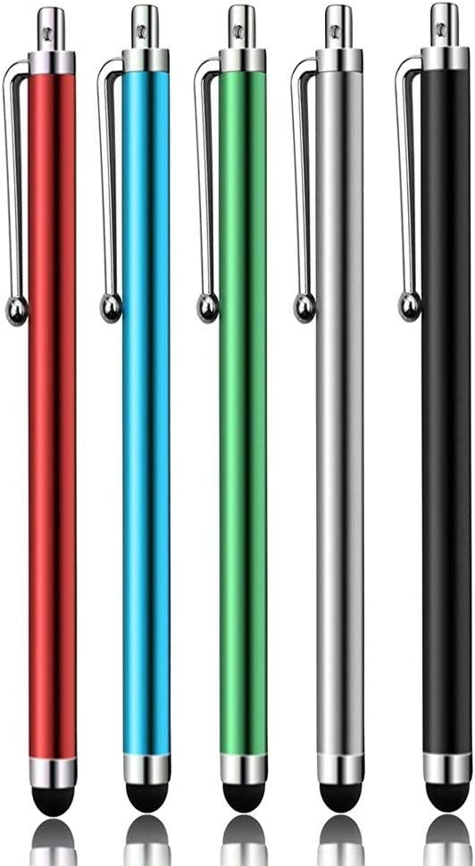 A Pack of 5pcs Universal Touch Screen Stylus Pen (Red+Black+Silver+Blue+Green)-SLZRT02Y